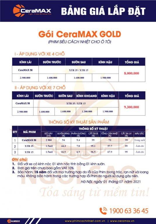 Bảng báo giá phim cách nhiệt ô tô CeraMAX GOLD