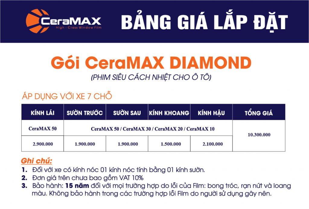 Phim cách nhiệt CeraMAX Diamond cho xe 7 chỗ