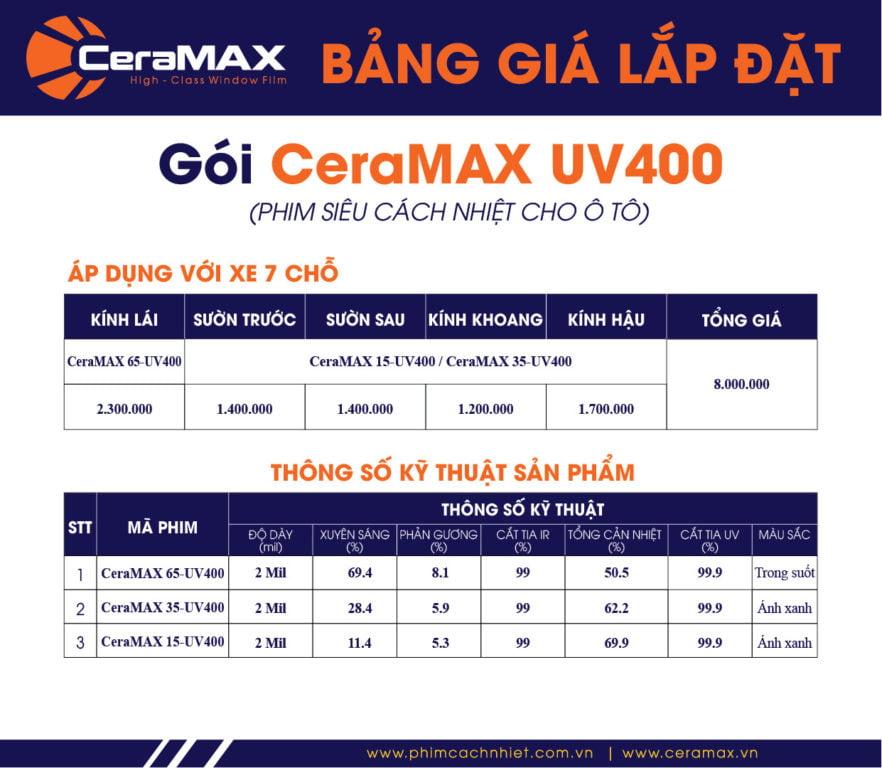 Gói dán phim cách nhiệt CeraMAX cho xe 7 chỗ