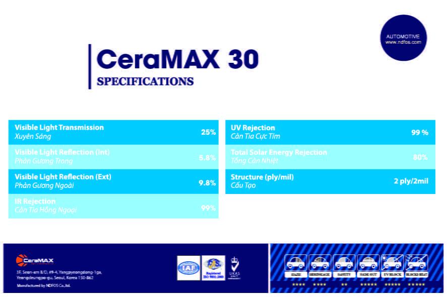phim cách nhiệt CeraMAX 30